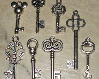 8 Assorted Large Tibetan Silver Key Charms