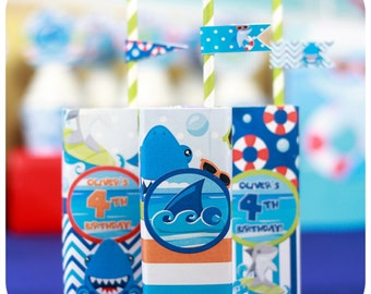 Shark Party; Shark; Shark Party; Shark Birthday Party; Shark Birthday; Shark Birthday Party; Shark Juice Box Wrappers Print, Cut, & Shipped