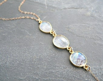 Rainbow Moonstone Trio Lariat Gold Necklace