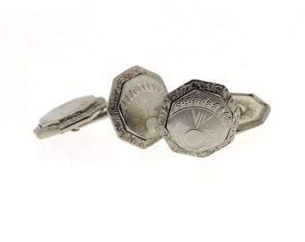 Vintage Cuff links, Art Deco Engraved Cufflinks, White Gold Front Belais Cufflinks