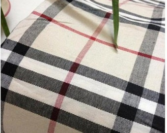 TARTAN PLAID CHECK Shirt Fabric Cotton Material / 145cm wide / tan black red - Sold by the Metre