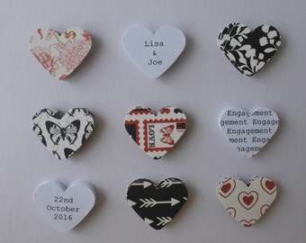 Handmade personalised Engagement card - romantic red black and white
