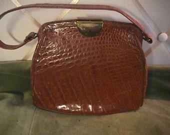 "Vintage Honey Colored Alligator Bag, 7x8"" plus Handle,   #1109"