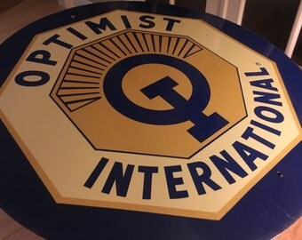 Vintage large Optimist International round mid century sign