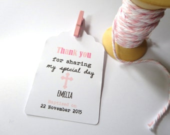 Personalised Swing Tags for Baptism/Christening/ Thank you Favour Gift Tags - Set of 25