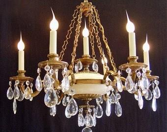 "Vintage lighting 26"" x 26"" Spanish 7 light BRASS Chain Link CRYSTAL CHANDELIER - Satin White Accents"