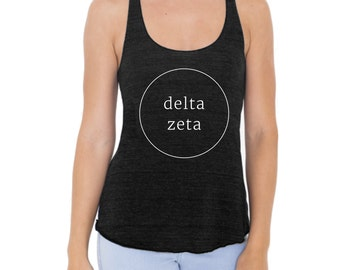 Delta Zeta Tank Top American Apparel Racerback Tank for Delta Zeta Sorority. Available in 4 Color Options.