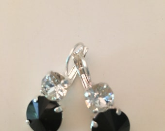 Swarovski Crystal Earrings featuring Black and Clear Swarovski Crystals set in Silver Leverback  **FREE SHIPPING**