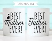 Best Mother Ever & Best Father Ever Ceramic Coffee Mug- 2 Coffee Mug Set - Mother's day gift - Father's Day gift - Tickled Teal
