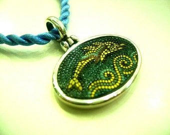 Dolphin micro mosaic Santorini pendant in solid sterling silver 925