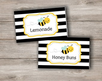 Bumble Bee Food Tent Cards with Editable Text, Printable Bumblebee Food Tent Card with Editable Text to Print at Home, Bumblebee Favor Tags