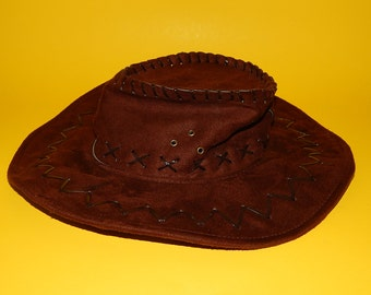 Faux Suede Childs Dark Brown Cowboy/Cowgirl Hat Rodeo Farm Costume Dress-Up