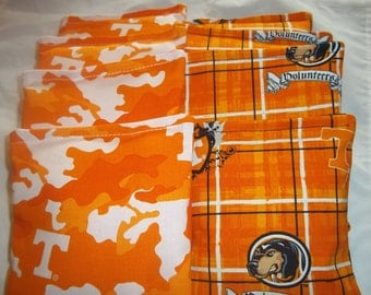 8 ACA Regulation Cornhole Bags - 8 handmade from Tennessee Volunteers on 2 Different Prints