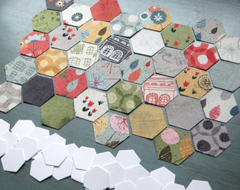 "Hive Paper Pieces - Moda Mon Ami Pack - 1/4"" Hexagons - Pre-Cut Fabric & Paper Quilt Hexies - English Paper Piecing Kit"