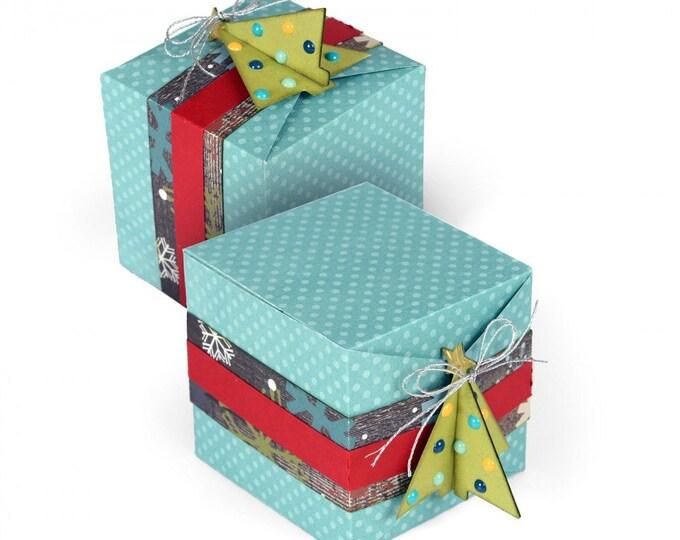 New! Sizzix Thinlits Die Set 4PK - Christmas Tree Gift Box by Lindsey Serata 661552