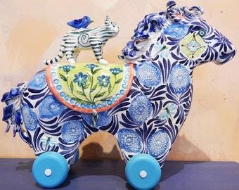 Folk Art Ceramic Horse with Cat rider Sculpture