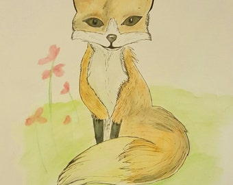 Original Fox Painting on Paper