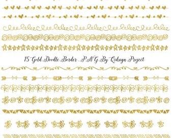 Gold doodle border, Swirly frame clip art, foliage border image, blog graphics, flourished border, photography template, divider element