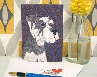 Schnauzer greetings card, Schnauzer birthday card, dog greetings card, blank card, dog card, Schnauzer notecard - Terrier card