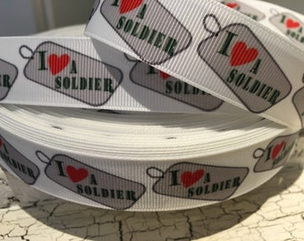 "3 yards 7/8"" I Love Soldier Military grosgrain ribbon"