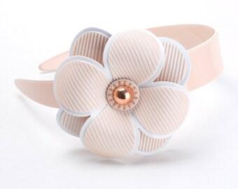 Large bejeweled flower hairband