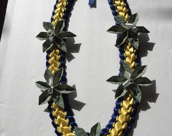 Hand Crafted Graduation Lei with 5 folded money flowers