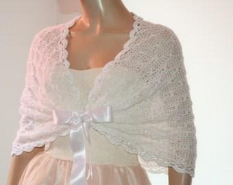 White Wedding Shawl, Bridal Shawl, Bridal Wedding Stole, White Shawl, Hand Knit Shawl, White Capelet, Wedding Capelet, Bridesmaid Shawl