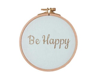 BE HAPPY  Wall frame - Mint and gold Glitter - Home - Decoration
