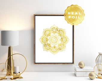 Mandala Wall Art - Gold Mandala Print - Real Gold Foil Print - Mandala Poster - Mandala Decor - Yoga Print - White and Gold Print