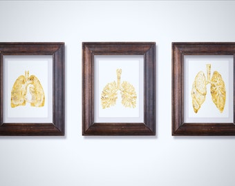 Lung Anatomy Art Print Set - Lung Art - Medical Student Gift - Anatomy Decor - Medical Art - Medical Decro - Doctor Gift - Medical Gift
