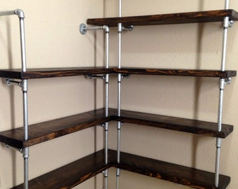 Corner shelving unit - Corner shelf - Pipe Shelving - Industrial shelf - Shelf - Closet shelving - Kitchen shelving - Retail shelving