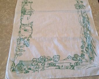 """1950's retro"""" leave it to beaver"""" style tea towel, great condition no stains or holes"""
