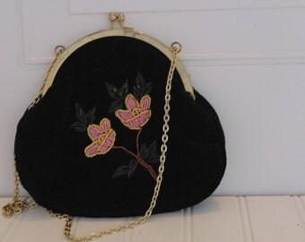 Vintage Purse Black Floral Evening Bag Handbag  Beaded Velvet
