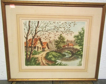"""vintage  Framed ETCHING """" The STONE BRIDGE """" by Pierre; Paris Etching society signed  in pencil"""