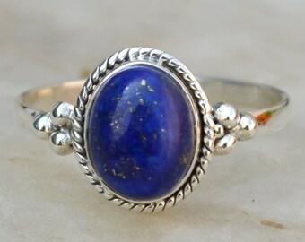 Lapis Lazuli Ring,Blue ring - Lapis ring,Bezel Set ring Gift for her Lapis Lazuli stone,Solid 925 Sterling Silver Ring US Size 5 6 7 8 9 10