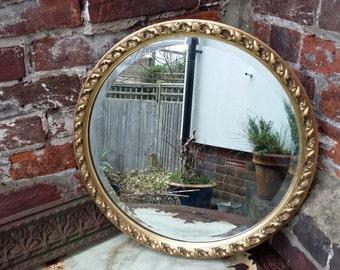 Vintage Retro Gilt Circular Mirror