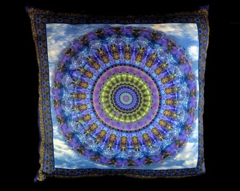 Blue Butterfly Mandala Silk Pillow