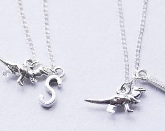 Dinosaur Friendship Necklaces, T Rex Initial Necklaces, Personalized Dinosaur Necklace Set, Tyrannosaurus Necklace, Silver Initial Necklaces