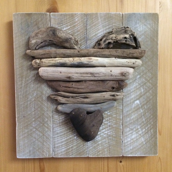 Large Heart Wall Decor : Large driftwood heart wall decor by seasthedaycoastalart