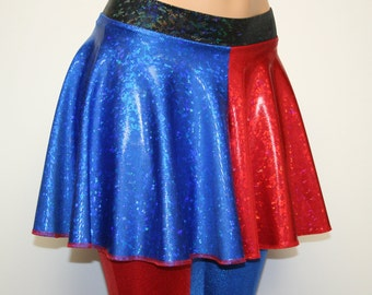 """Harley Quinn Suicide Squad Skirt.  Red and Blue """"Shattered Glass"""" Spandex.  Toddler, Child, Girls, Adult, Unisex, and Plus SIzes!!"""