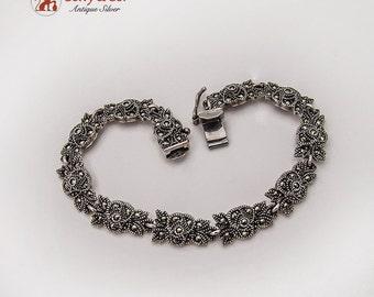 Floral Marcasite Link Bracelet Sterling Silver JJ Thailand 1990