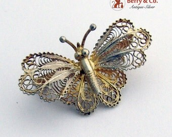 Small Filigree Butterfly Brooch Pin 800 Silver
