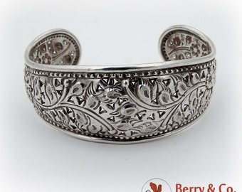 Ornate Floral Beaded Rim Cuff Bracelet Cut Work Accents Sterling Silver