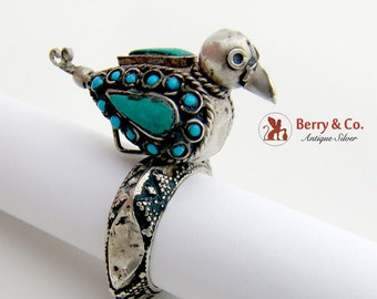 Unusual Bird Ring Sterling Silver Turquoise