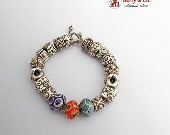 Charm Bead Bracelet Sterling Silver Art Glass