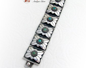 Mexican Wide Link Bracelet Turquoise Sterling Silver 1960