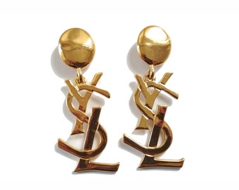Authentic Yves Saint Laurent Vintage Logo Earrings
