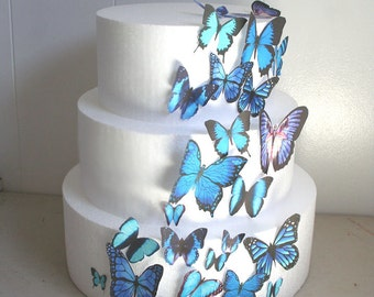 Edible Butterfly Cake Decorations, Blue and Black Edible Butterflies, Set of 25 DIYCake Decor, Edible Cake Decorations, Blue Wedding Cake