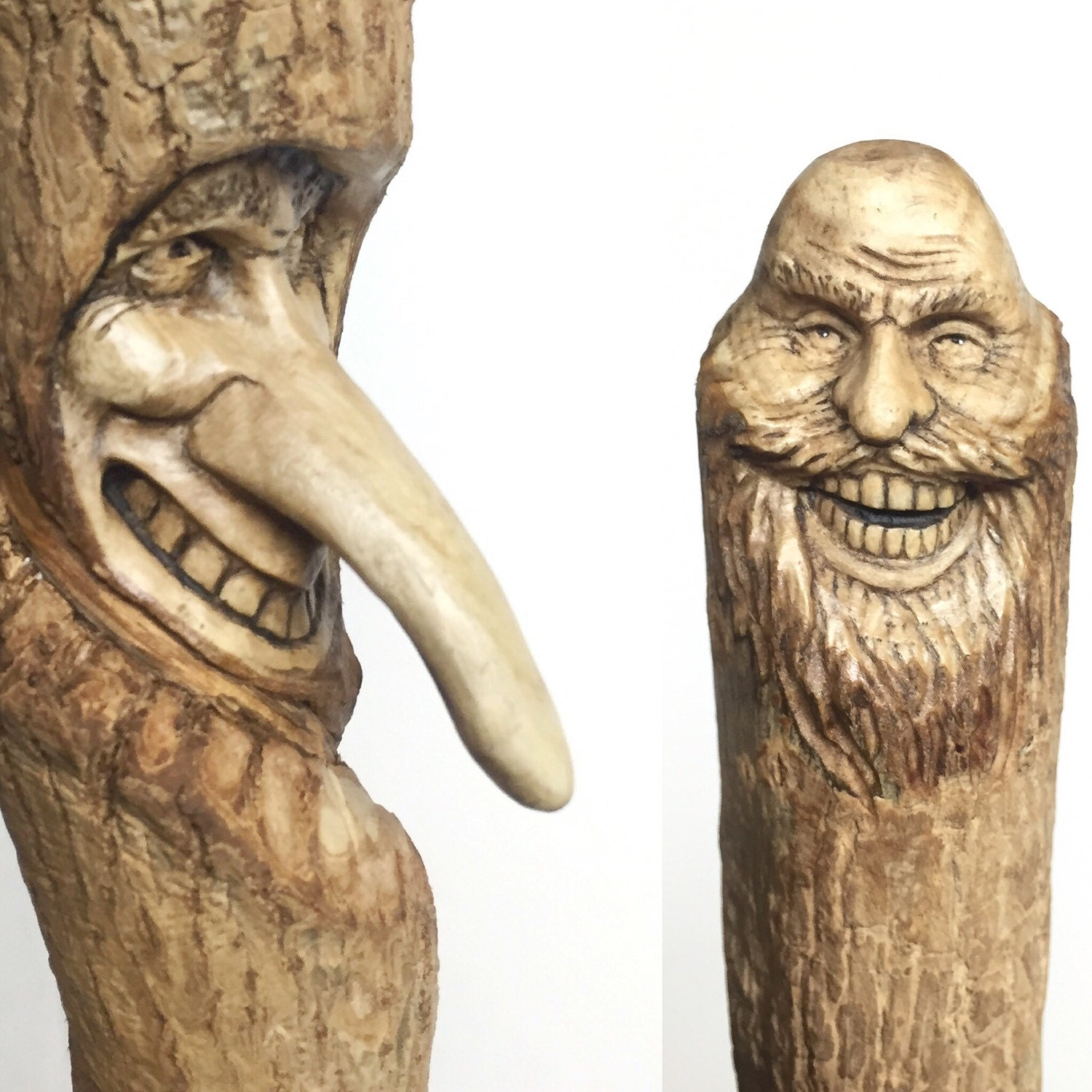 Walking stick hand carved wood spirit