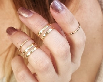 Mini Gold Midi Ring Set - Gold Midi Rings - Stacking Rings - Above The Knuckle - Cuff Midi Rings - RS07-G